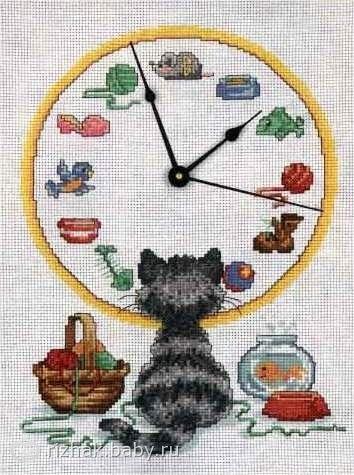 Кот-Часы. Схема и цвета ниток