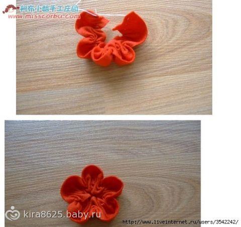 Мастер класс маленькие цветочки из ткани