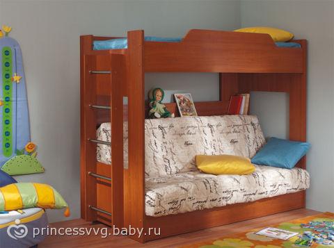 Кровать двухъярусная с диваном без матраца