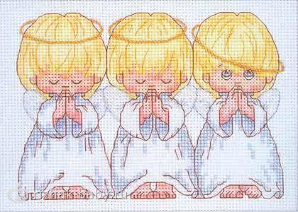 Схемы вышивки ангелочков: варианты исполнения ангелочков крестом.